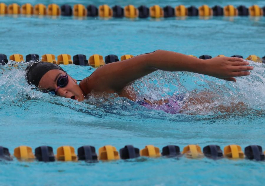 Sophomore Amelia Sanchez performs freestyle during BCCHS swim practice on Feb. 27.