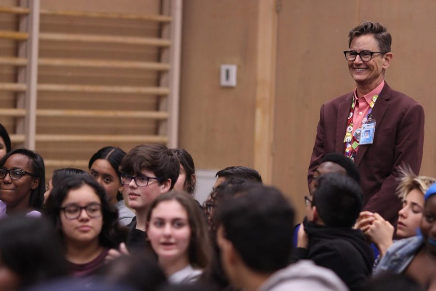 Principal Deb Smith listens during the ninth and tenth grade assembly on Jan. 30.