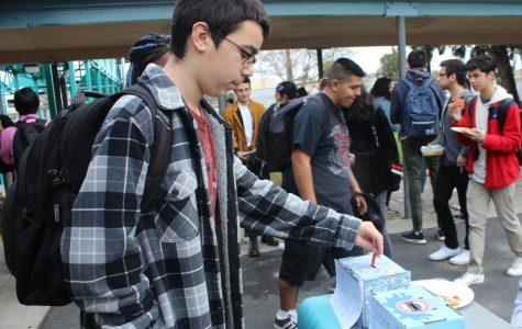 Freshman Daniel Husany votes to name Daniel Pearl Magnet High School's adopted shark