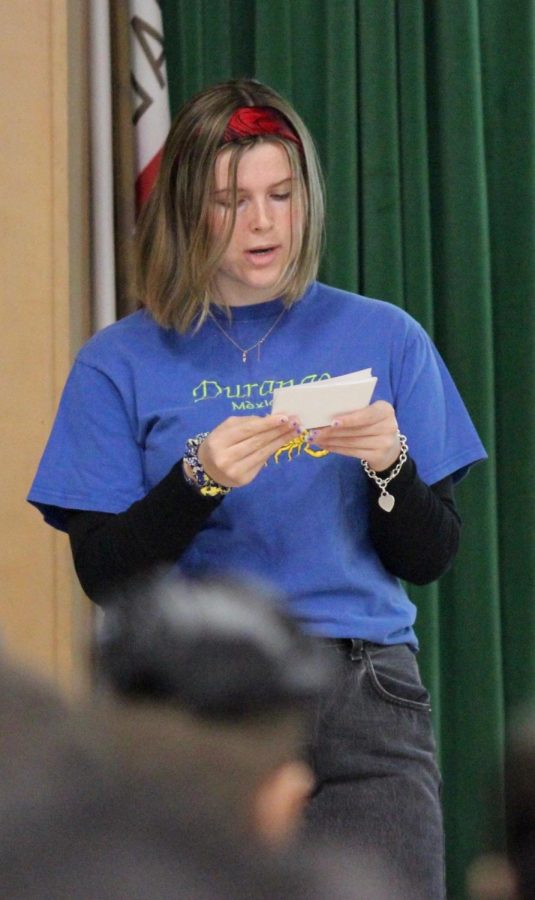 Annie Wendorf speaks to students during the Change the Talk presentation on Feb. 22.