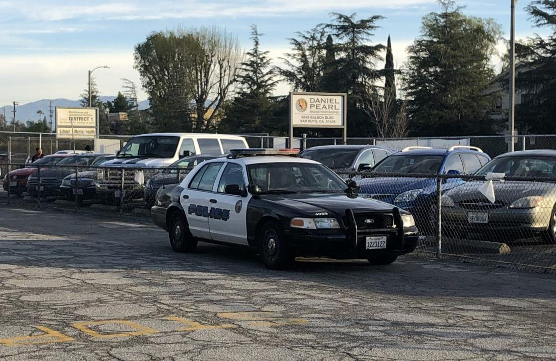 Police patrolled Daniel Pearl Magnet High School on Feb. 1 due to a threat recieved the day before.