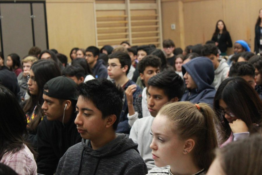 Freshman and sophomores gathered in the MPR on Jan. 30 for an assembly reviewing school rules.