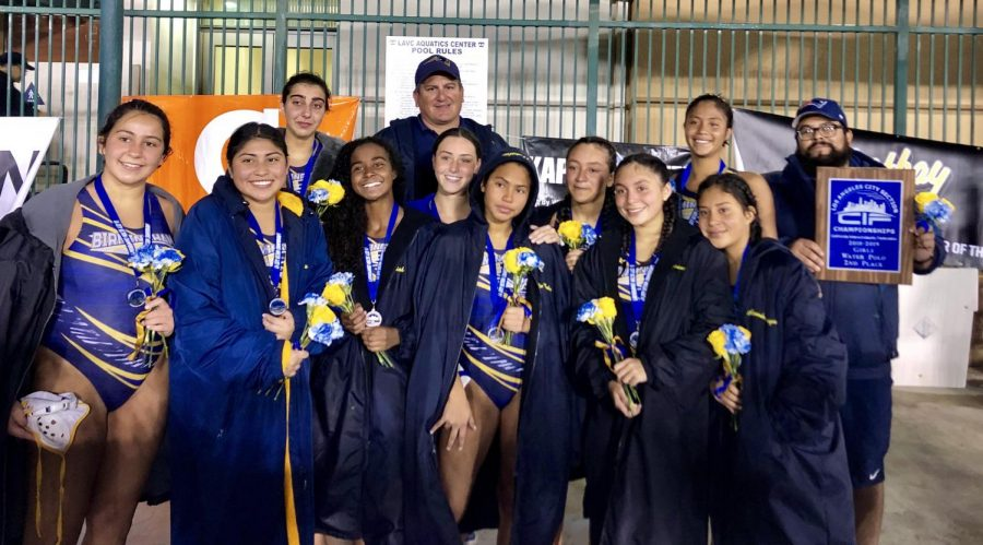 Birmingham girls varsity water polo pose with their trophies after placing second in CIF at Los Angeles Valley College on Feb. 14.