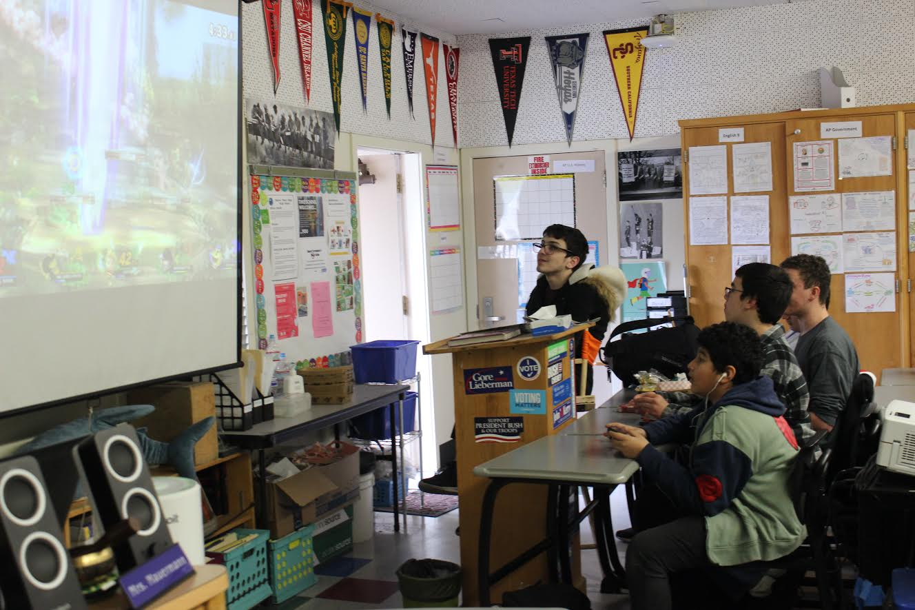 "Students play ""Super Smash Bros. Ultimate"" during lunch. Super Smash Club meets every Wednesday in room 17."