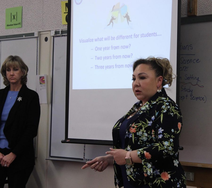 Sandra Rodriguez and Kari Rosson explain to teachers what changes should be made in the following years on April 10.