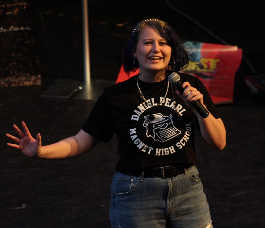 Adrienne Bangert performs at the Get Lit Classic Slam Quarter and Semifinals on April 25.