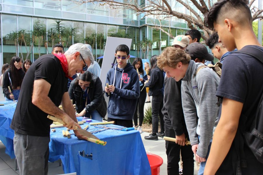At the Future Currents: Los Angeles River festival students had the opportunity to create instruments out of recycled bamboo sticks on April 5.