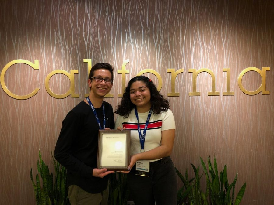 Online Editor-in-Chief Michael Chidbachian and Print Editor-in-Chief Kirsten Cintigo accepted the Online Pacemaker Finalist plaque on April 25.