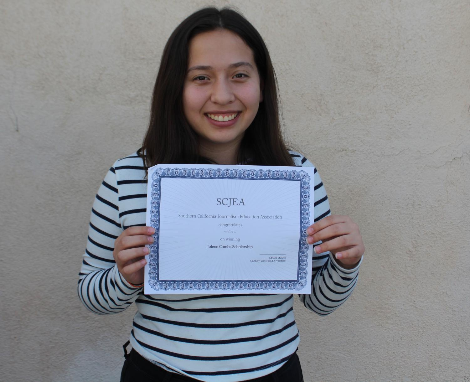 Sophomore Itzel Luna received the Jolene Combs Memorial Scholarship by the Southern California Journalism Education Association on March 16.