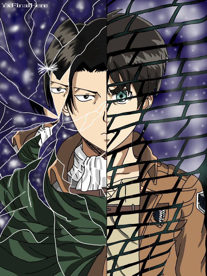 Characters Levi Ackerman and Eren Jaeger drawn side by side.