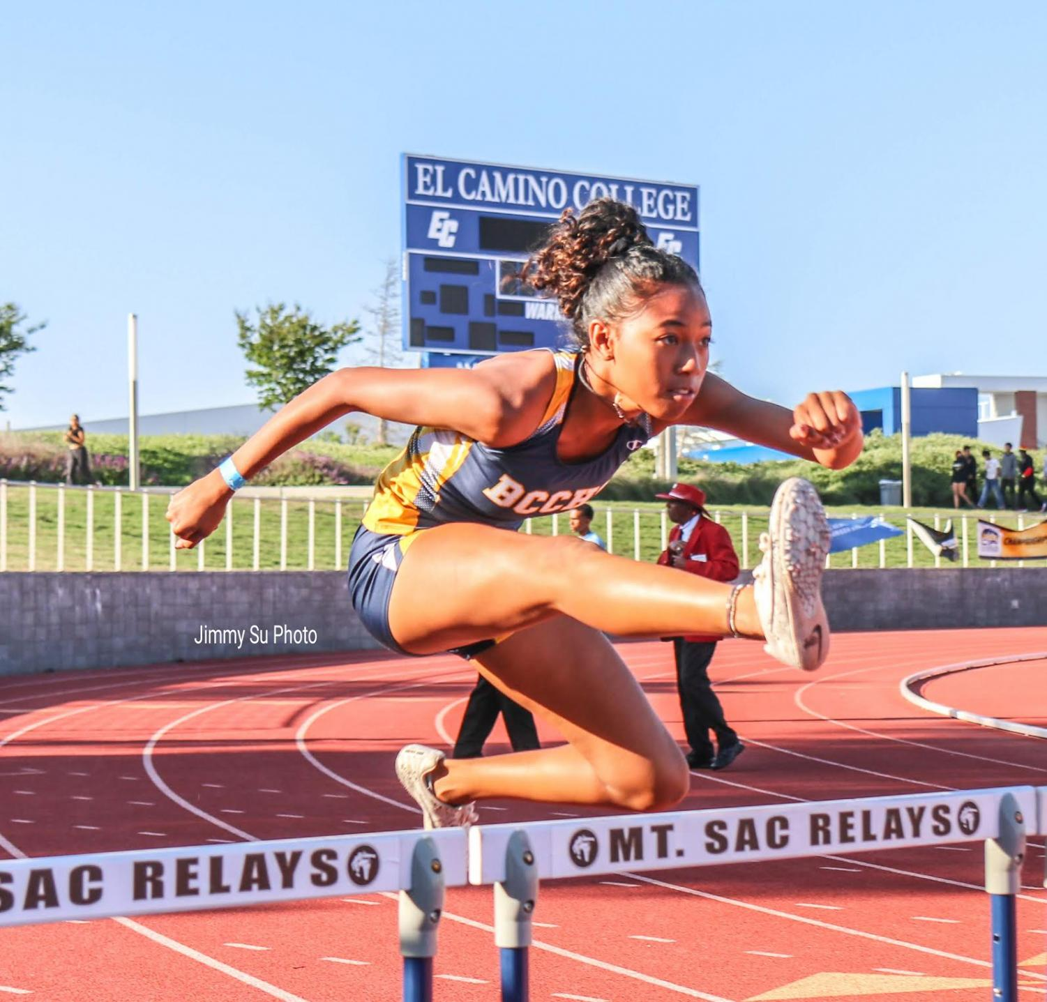 Sophomore Cassia Ramelb practices runs over a hurdle for her 100 meter hurdle race on May 16.