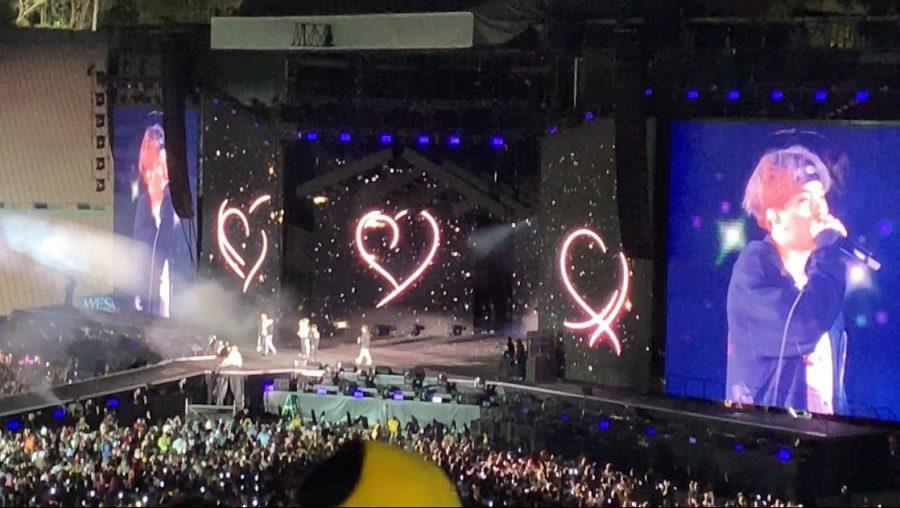 K-pop+sensation+BTS+performs+at+the+Rose+Bowl+Stadium+on+May+4.
