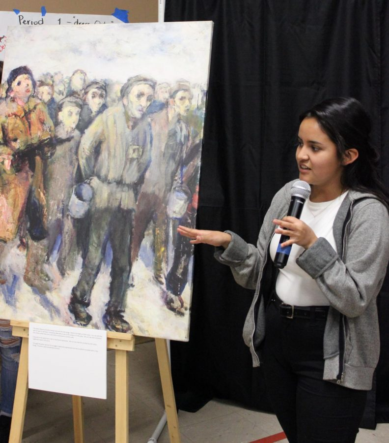 Sophomore Natalie Castillo discusses the connection she feels with a painting.