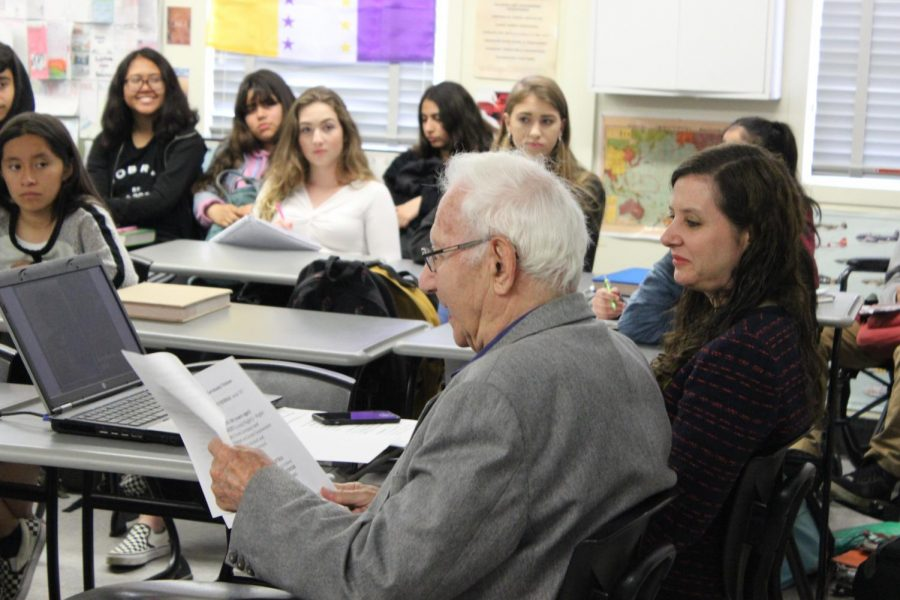 Holocaust survivor Avraham Perlmutter describes the maltreatment he and his siblings endured in Nazi Austria to students in history teacher Francisco Ortegas sixth-period class.