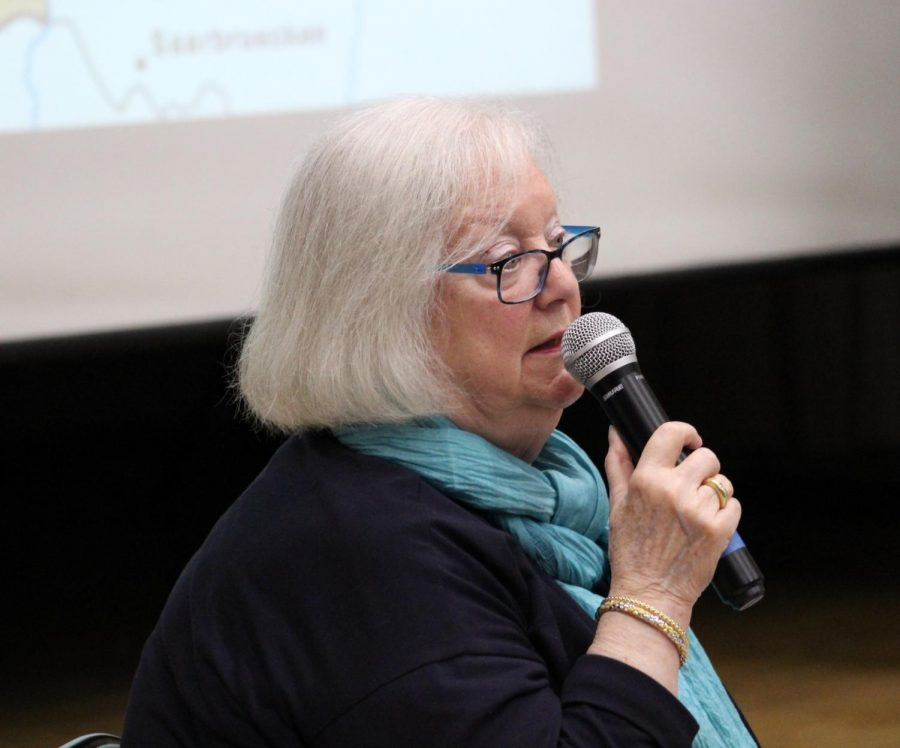 Speaker Louise Lawrence-Israels answers questions asked by students on May 9 during the David Labkovski Project.