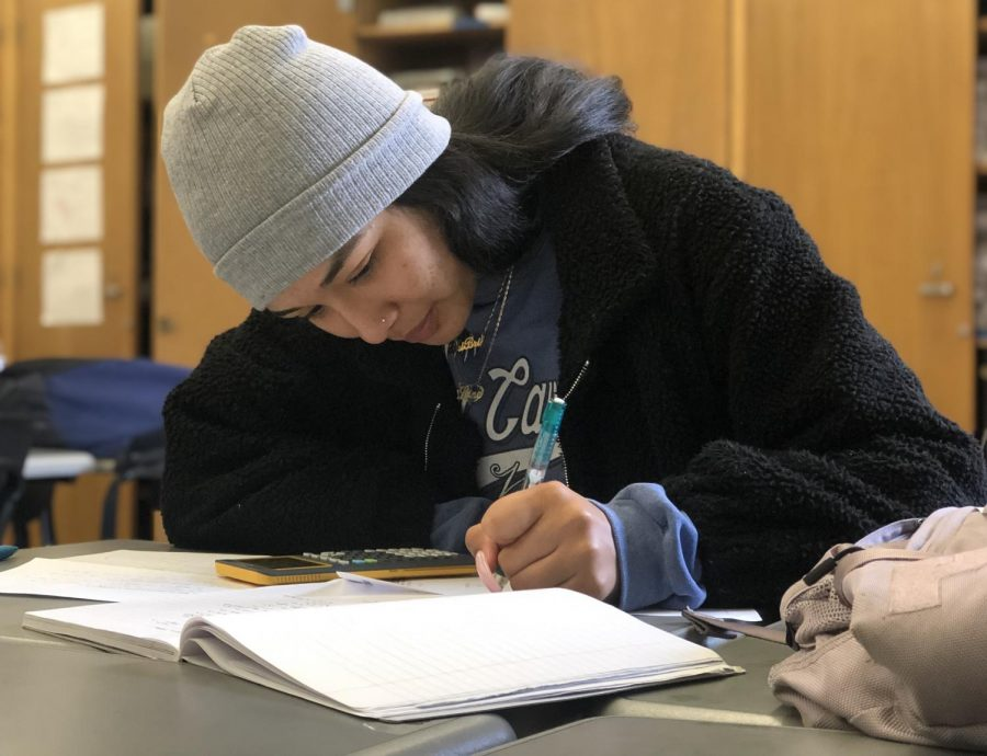 Senior Briana Ayala finishes math work in her Algebra 2 class on May 21.