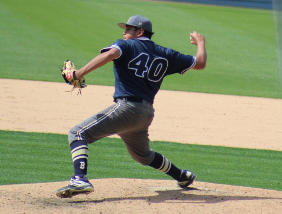 Freshman Chris Romero pitched in the fourth inning during the California Interscholastic Federation(CIF) Open Division Baseball Championship on May 25 at Los Angeles Dodger Stadium.
