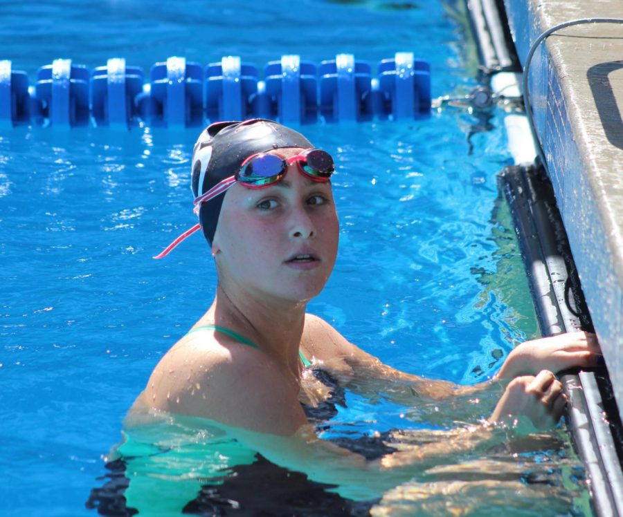 Sophomore+Petra+Vass+finishes+the+100+yard+breaststroke+event+at+California+Interscholastic+Federation+%28CIF%29+Swim+Championships+on+May+3.%0A