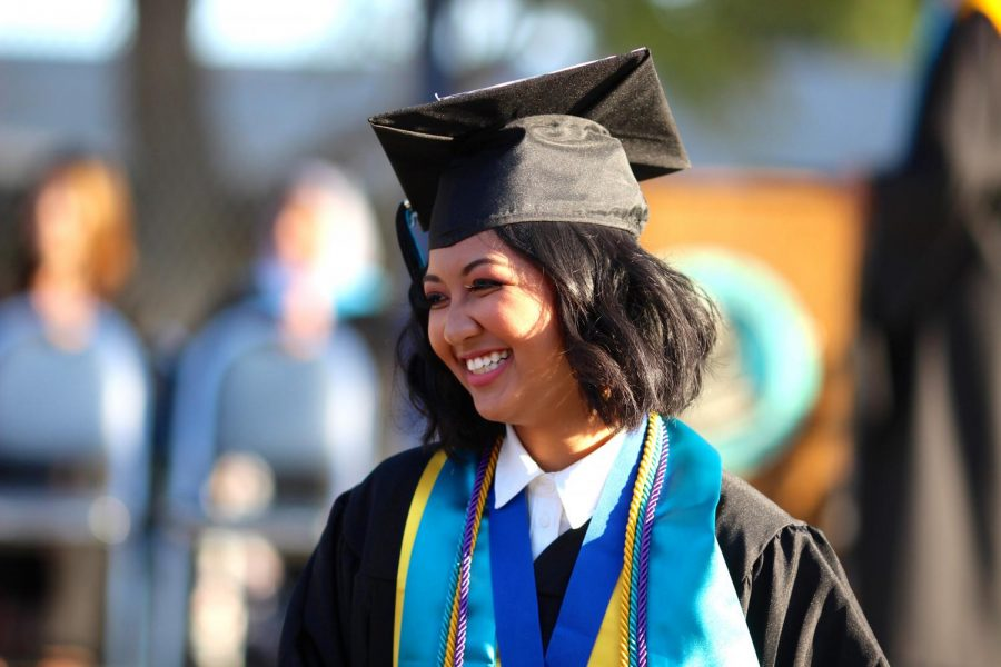 Salutatorian+Karina+Mara+was+among+the+70+seniors+who+walked+the+stage+to+receive+their+diploma+on+June+7+at+Mulholland+Middle+School.+
