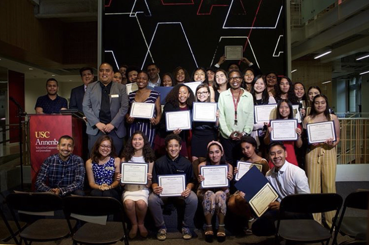The Annenberg Youth Academy cohort of 2019 gathers for a photo after graduation on July 12.