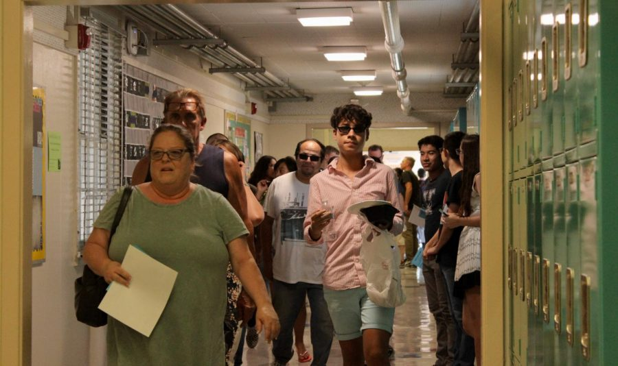 Students and parents fill the hallway during Back to School Night on Sept. 12.
