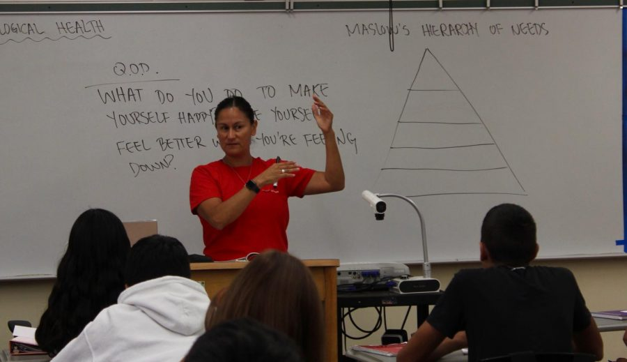 Susan Armenta goes over various concepts during period one health on Sept. 5.