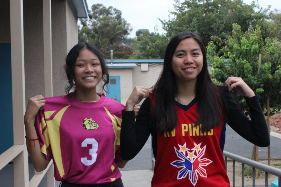 Seniors Alyanna Ahorro and Kimberly de Dios show off their sports' jerseys for DPMHS's Jersey Day on Sept. 27