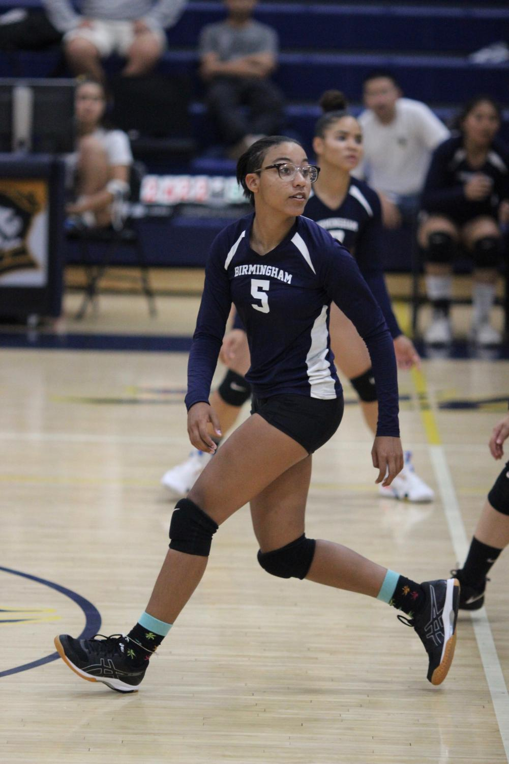 Freshman Naamah Silcott prepares to hit the ball in a game against Chatsworth Charter High School on Sept. 26.