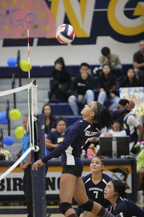 Freshman Naamah Silcott gets ready to spike ball during the Birmingham Community Charter High School senior night game vs. El Camino Real Charter High School game on Oct. 10.