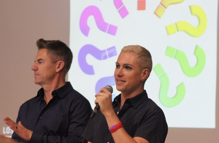 Speakers Kevin McCloskey and Mike Freeman from the Los Angeles LGBT Center take questions from students at the end of the Red Ribbon assembly on Oct. 29.