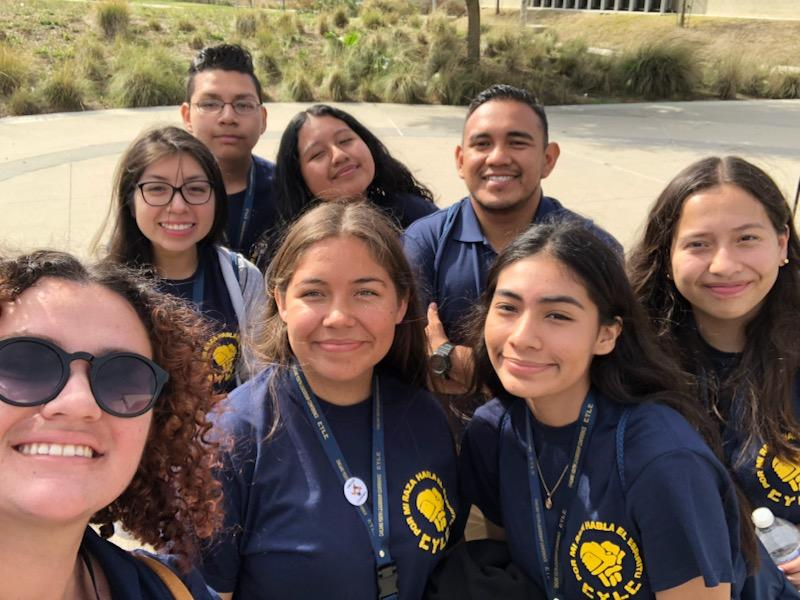 Managing Editor Itzel Luna (far right) takes a picture with her nation, The Olmecs, during the Chicano Youth Leadership Conference on Oct. 27.