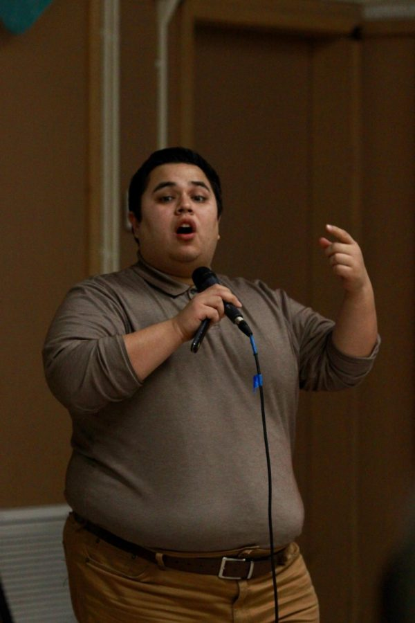 Prevention specialist Tomas Lopez talks passionately about the risks of vaping on teenagers and tries to guide the Daniel Pearl Magnet High School students in the right direction during the assembly on Dec. 12.