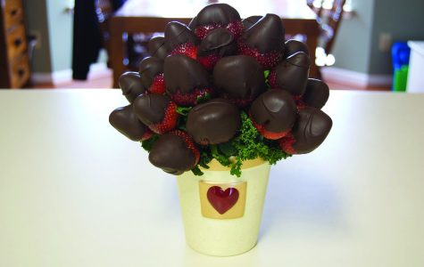 Chocolate covered strawberries bouquet:  Simple easy and tasty diy gift. All you need are strawberries, two packets of chocolate melts, sprinkles, bamboo skewers and tissue paper. First you wash the strawberries, then melt the chocolate and dip the strawberries into the  chocolate. As it starts to cool down, add the  sprinkles. Once everything is dry, wrap them nicely in tissue paper and add a little note.