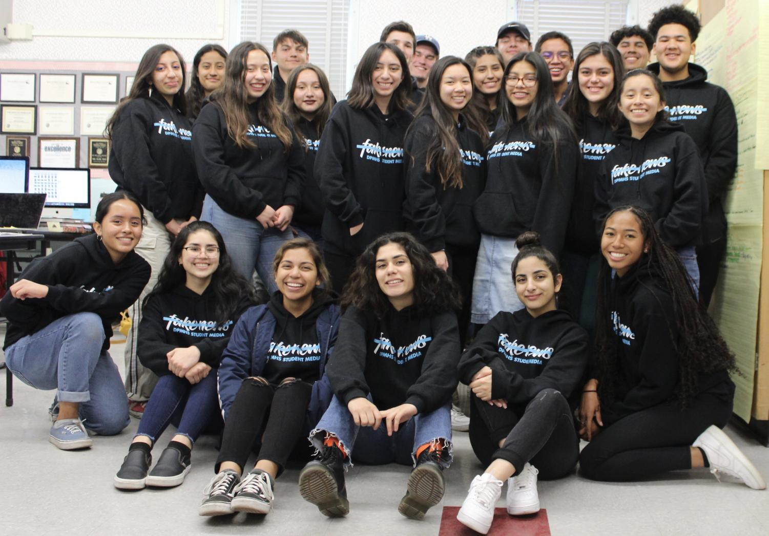 The staff of The Pearl Post and Prestige Yearbook wore their Not Fake News hoodies on Student Press Freedom Day, which is Jan. 29.