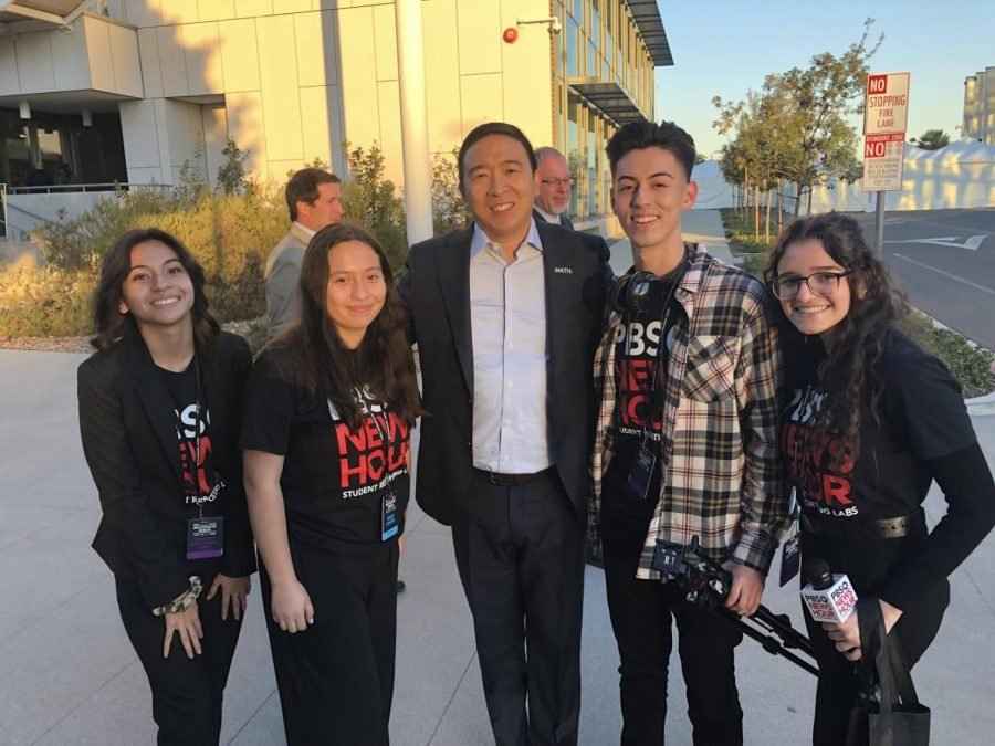 Managing editor Itzel Luna and the PBS Student Reporting labs behind the scenes team met former democratic presidential candidate Andrew Yang at Loyola Marymount University on Dec. 19.