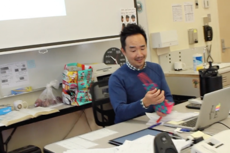 Staff Writer Sara Marquez surprises math teacher Mr. Duke with an early Valentine