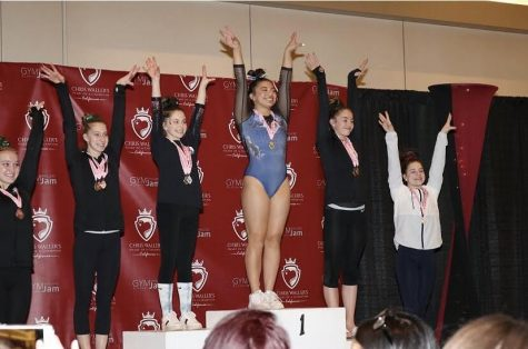 Sophomore Eden Kolber competed as a specialist for her gymnastics competition on Feb. 28. She won first place for her floor routine.