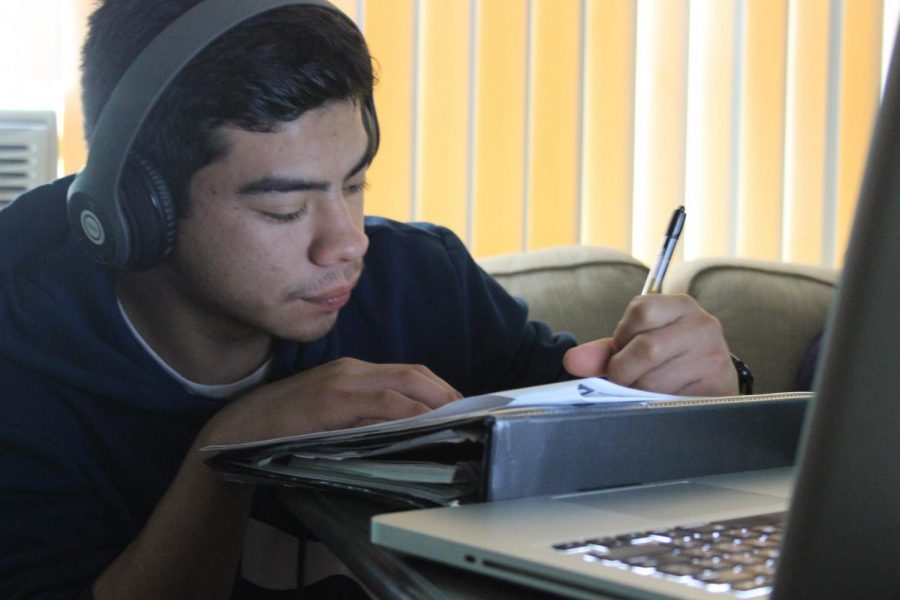 Senior Daniel Raymundo works on his assignments that were posted on Schoology for the duration schools are closed due to COVID-19. Teachers are expected to assign more work, but without their assistance, they are putting more confusion and frustration upon students.