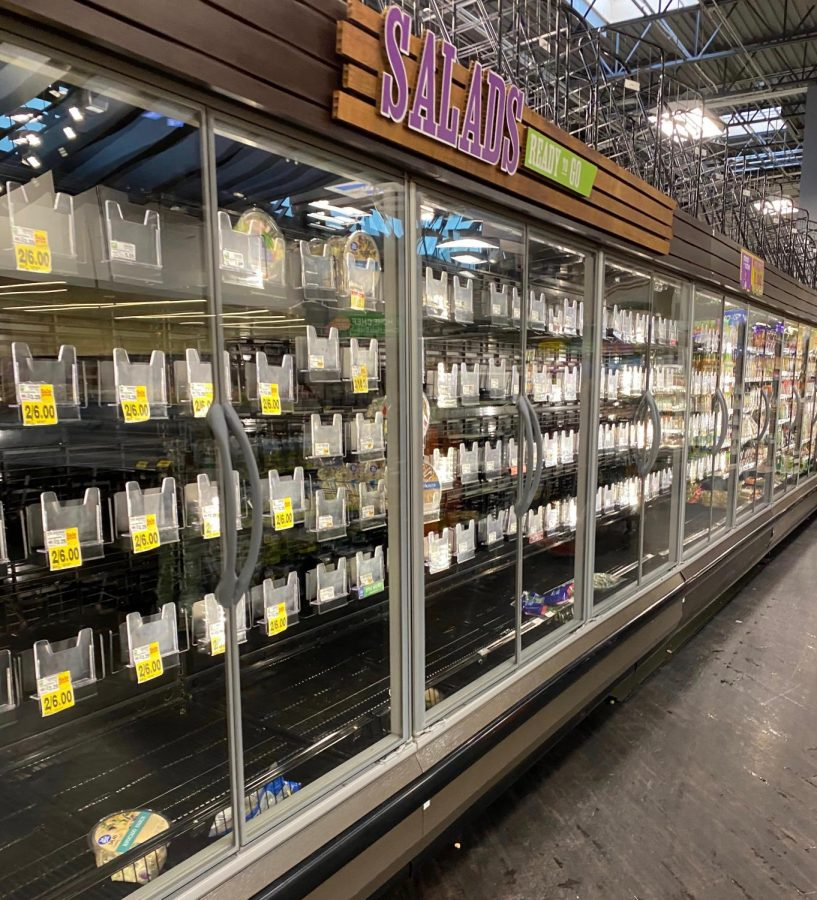At a Ralphs grocery store in Encino on March 16, the food isles are mainly empty as people buy groceries in panic after the Los Angeles Mayor Eric Garcetti warns the public about outside activities.