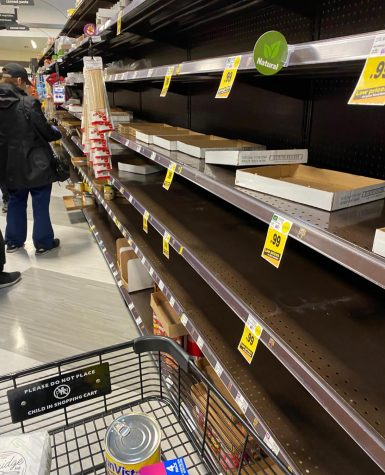 At a Ralphs grocery store in Encino on March 16, the food isles are mainly empty as people buy groceries in panic after As Los Angeles Mayor Eric Garcetti warns the public about outside activities.