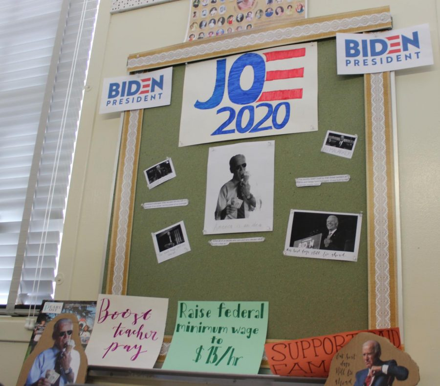History teacher Brenda Helfing's U.S. History students made posters and booths for democratic presidential candidate Joe Biden. The posters were hung in Helfing's room for the mock election on March 3.