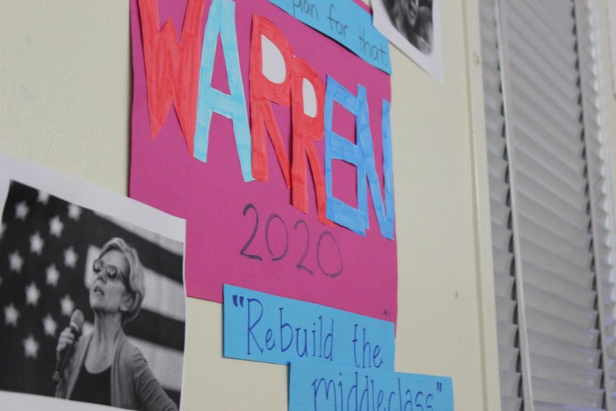 History teacher Brenda Helfing's junior U.S. History class made posters and booths for each presidential candidate. The posters were hung around the room for the mock election on March 3.