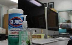Clorox wipes and hand sanitizer was available for student use in journalism/English teacher Adriana Chavira's room on March 13. Many teachers had sanitizing products in their classroom as a way to keep students safe.