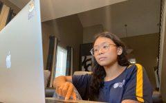 Senior Alyanna Ahorra works on her online classes during the school closure.