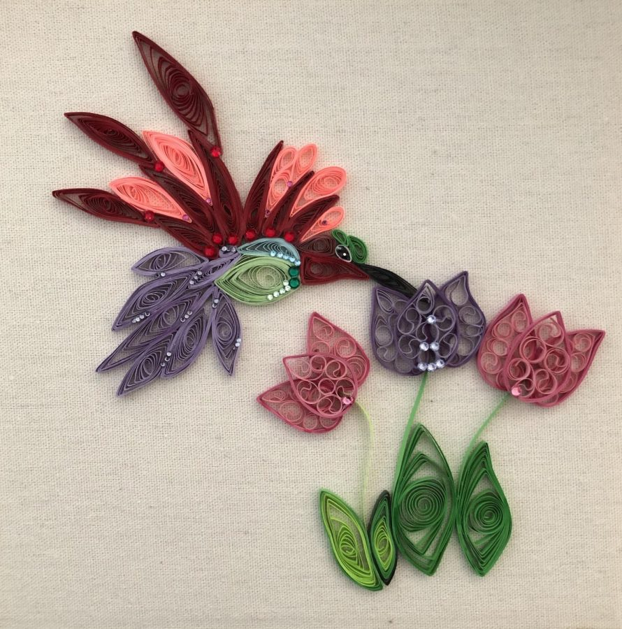 Sophomore Annabella Powell has spent time quilling, which is paper art. Here is one project she did during the quarantine.