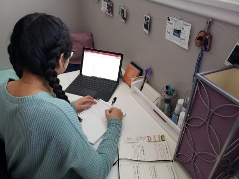 Staff writer Valeria Luquin works on her online classes during the pandemic.