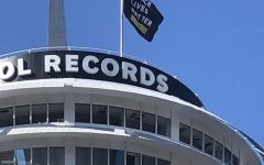 A Black Lives Matter flag flies high on the Capitol Records building in Hollywood.