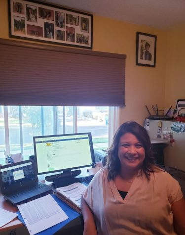 Spanish teacher Glenda Hurtado shows her teaching workspace during this distance learning school year, which began on Aug. 18 and has been completely online.