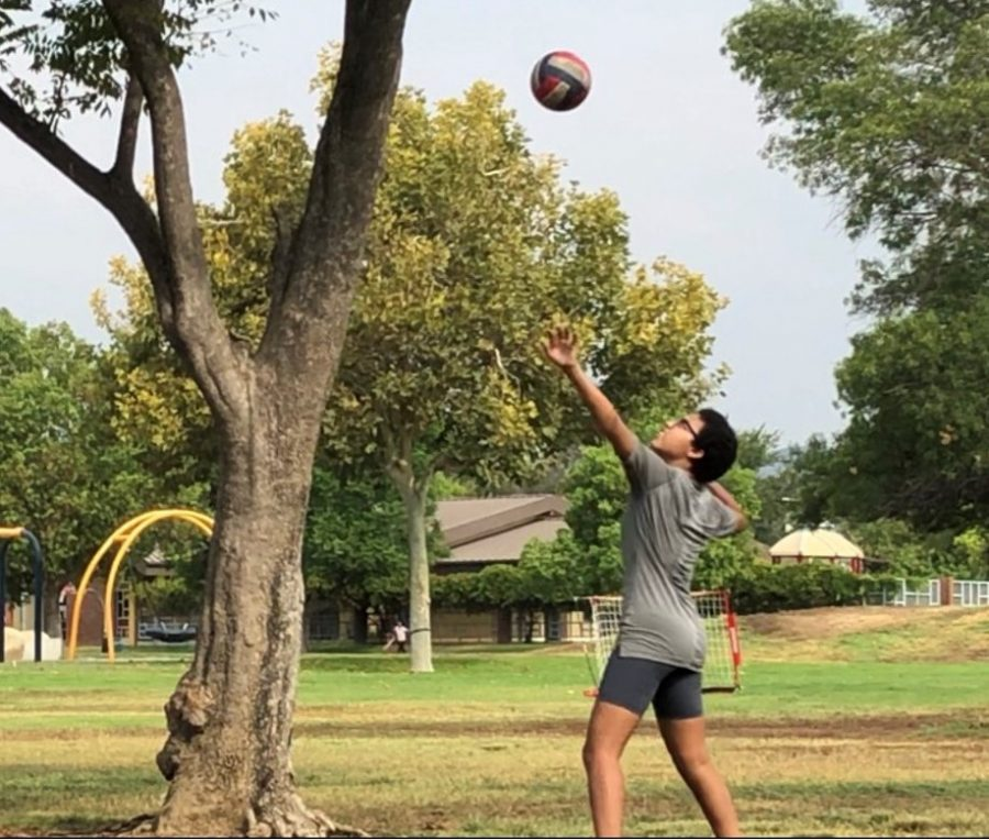 Sophomore+and+varsity+volleyball+player+Naamah+Silcott+gets+ready+to+return+to+practice+by+strengthening+her+volleyball+skills.