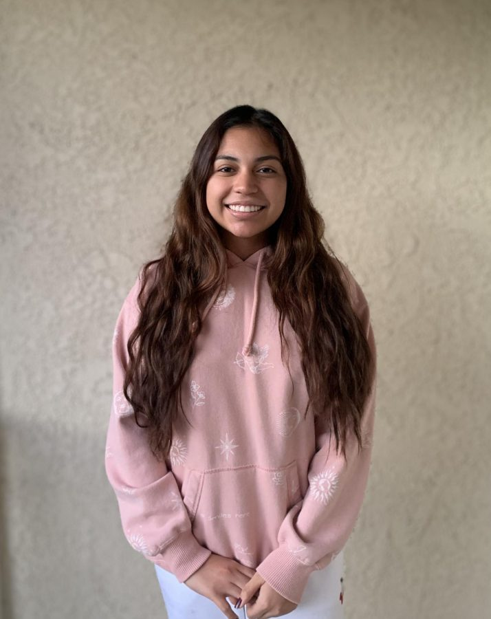 Entertainment Editor Sara Marquez wears one of the hoodies in the recent collection that Charli and Dixie D'amelio co-designed with Hollister.